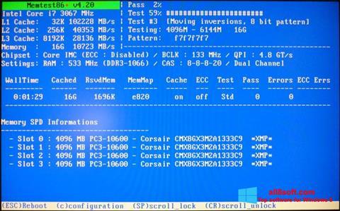 Ekraanipilt MemTest Windows 8