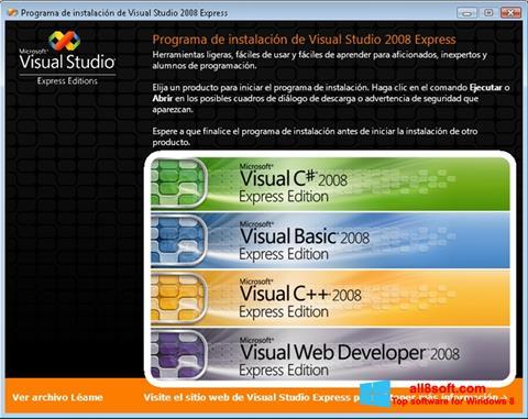 Ekraanipilt Microsoft Visual Studio Windows 8